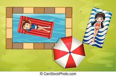 um, vista aérea, de, a, jardim, piscina