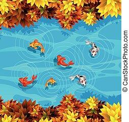 um, vista aérea, de, lagoa peixes