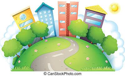 um, vista aérea, de, um, produtivo, cidade