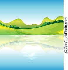 um, vista, de, a, água, e, a, verde, terra, recursos