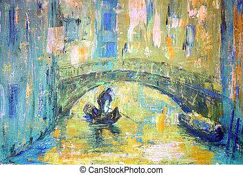 um, vista, de, a, canal, com, bote, e, ponte, em, veneza