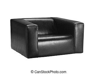 um, vista, de, um, modernos, cadeira couro, isolado, branco, fundo