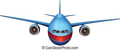 um, vista dianteira, de, um, avião