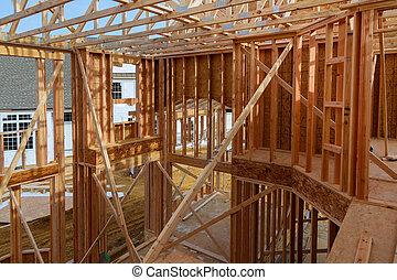 um, vista interior, de, um, repouso novo, construção, com, exposto, telegrafando, e, e, um, escada, ligado, a, floor.