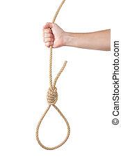 um, volta, de, corda, em, a, homem, mão., para, hanging.