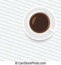 um, xícara café, ligado, a, folha papel