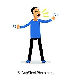 um, zangado, gritando, homem, transtorne, cansado, homem, vetorial, ilustração