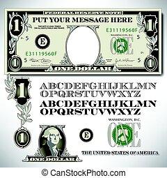 uma conta dólar, partes, com, um, alfabeto
