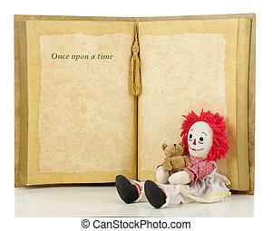 uma vez, trapo, tempo, sobre, boneca