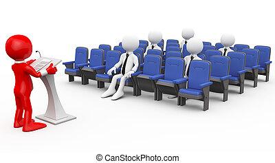 umano, 3d, tenere conferenza