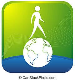 umano, camminare, su, globo