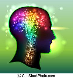 umano, colorare, cervello, neurons
