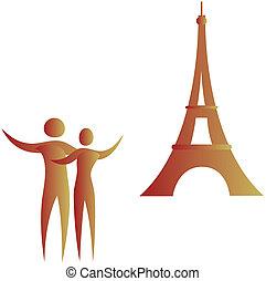 umano, coppia, standing, davanti, eiffel torreggia