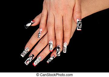 umano, dita, con, lungo, unghia