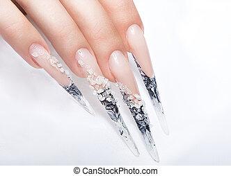 umano, dita, con, lungo, unghia, e, bello, manicure, sopra,...