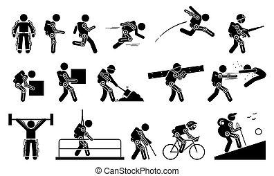 umano, futuristico, corpo, icons., il portare, potere, pictogram, bionico, bastone, exoskeleton, figura