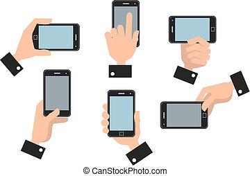 umano, mobile, mano, telefono, presa a terra, far male