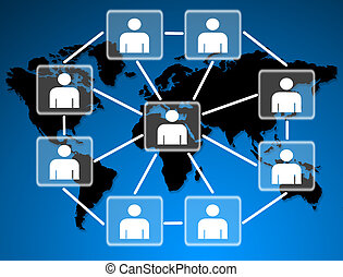umano, modelli, collegato, insieme, in, uno, sociale, network.