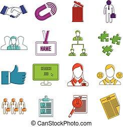 umano, risorsa, amministrazione, icone, scarabocchiare, set