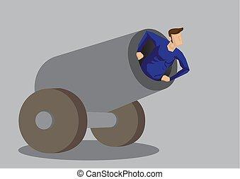 umano, vettore, palla cannone, illustrazione