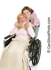 umarmung, für, großmutter