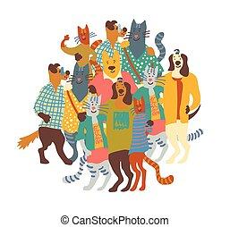 umarmung, gruppe, isolieren, katzen, white., haustiere, hunden, glücklich