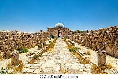 umayyad, citadelle, palais, amman