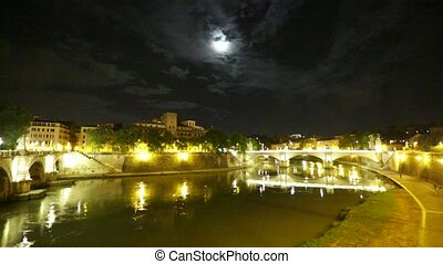 Umberto I bridge night - Umberto I bridge in Rome city,...