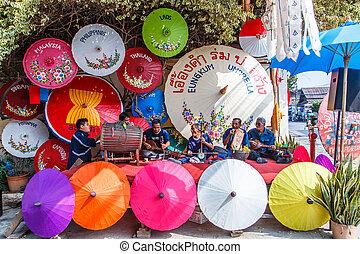 umbrel, 31th, aniversario, bosang, 19, chiang mai, :, thailand-january