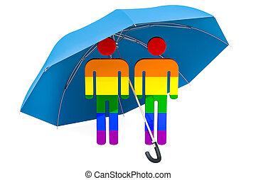 umbrella., 安全である, ゲイである, 家族, concept., レンダリング, 安全, 下に, 3d
