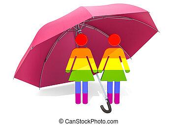 umbrella., 安全である, 家族, concept., レンダリング, 安全, 下に, レズビアン, 3d