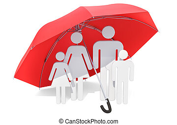 umbrella., 家族, 医学, 下に, 保険, レンダリング, ヘルスケア, concept., 3d