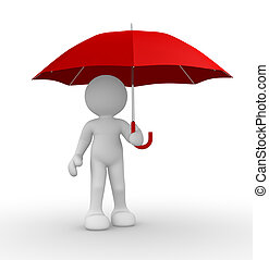 Umbrella - 3d people-human character under red umbrella -...