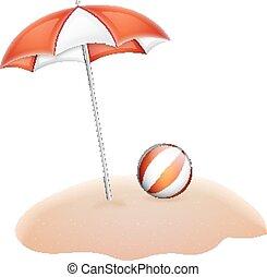 Umbrella adn ball on sand isolated white. EPS10 vector