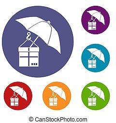Umbrella and a cardboard box icons set