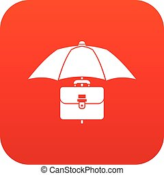 Umbrella and business case icon digital red