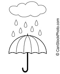 Umbrella and cloud with rain. Coloring book page for children. Vector illustration isolated on white background.