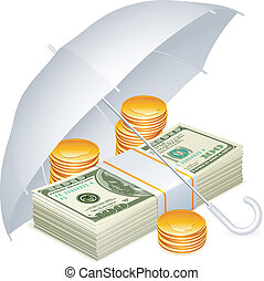 Dollars and golden coins covered with a white umbrella.