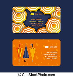 Umbrella and parasols open and closed set of business cards vector illustration. Rain colorful protection symbol. Rainy weather sign. Happy mood, luck, safety. Drops of rain.