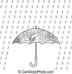 Umbrella and rain coloring