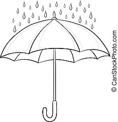 Vector, umbrella and rain drops, monochrome contours on white background
