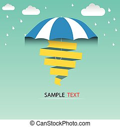 umbrella and rain drops, abstract weather concept vector