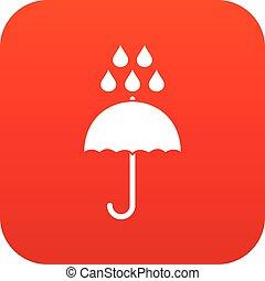Umbrella and rain drops icon digital red