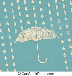 umbrella and rain drops on a blue vintage background