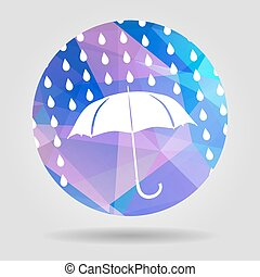 umbrella and rain drops on the Abstract geometric circular shape
