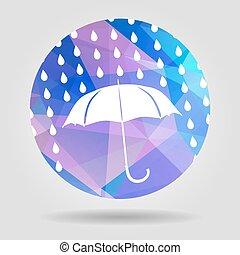 umbrella and rain drops on the Abstract geometric circular shape
