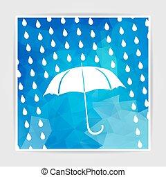 umbrella and rain drops on the Blue Triangular Polygonal backgro