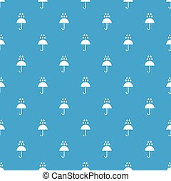 Umbrella and rain drops pattern seamless blue