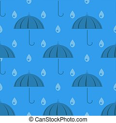 Umbrella and Rain Drops Seamless Pattern
