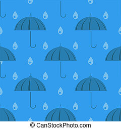 Umbrella and Rain Drops Seamless Pattern on Blue Background